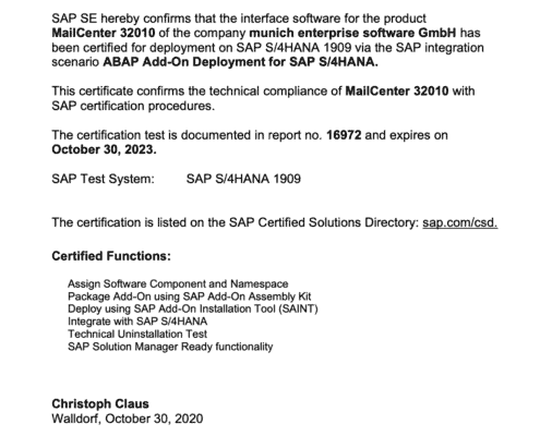 SAP Partner Zertifikat MailCenter
