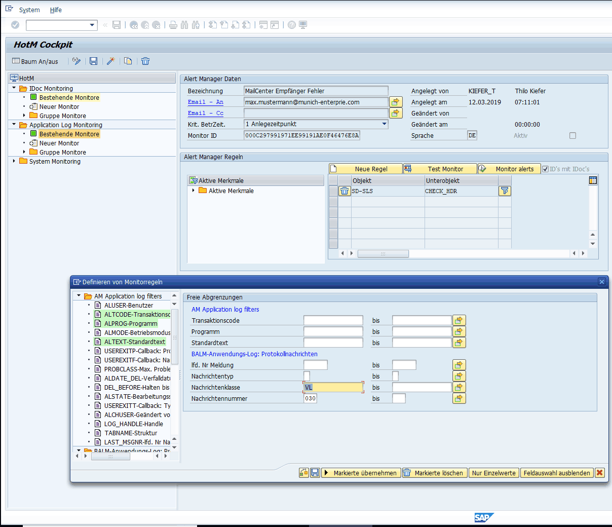 SAP Application Log Monitoring | SAP Monitoring Tools HotM