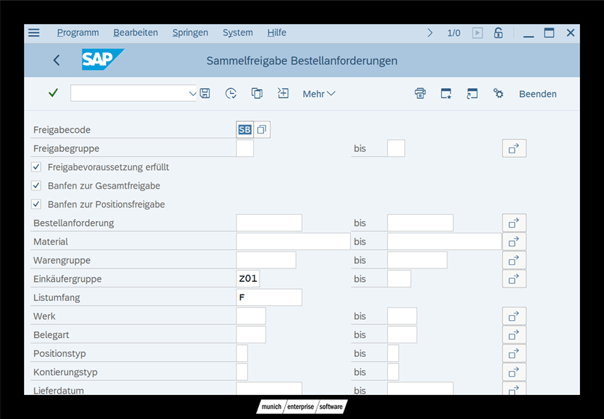 SAP BANF Freigabe Transaktion ME55