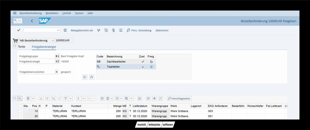 SAP Banf freigeben Transaktion ME54N