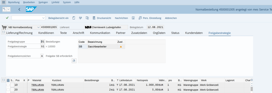 Liberar pedido de compra de SAP - Versión única ME29N