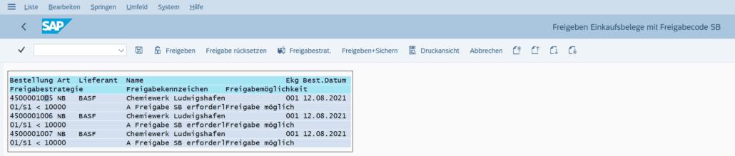 Liberar transacción de pedido de SAP ME28