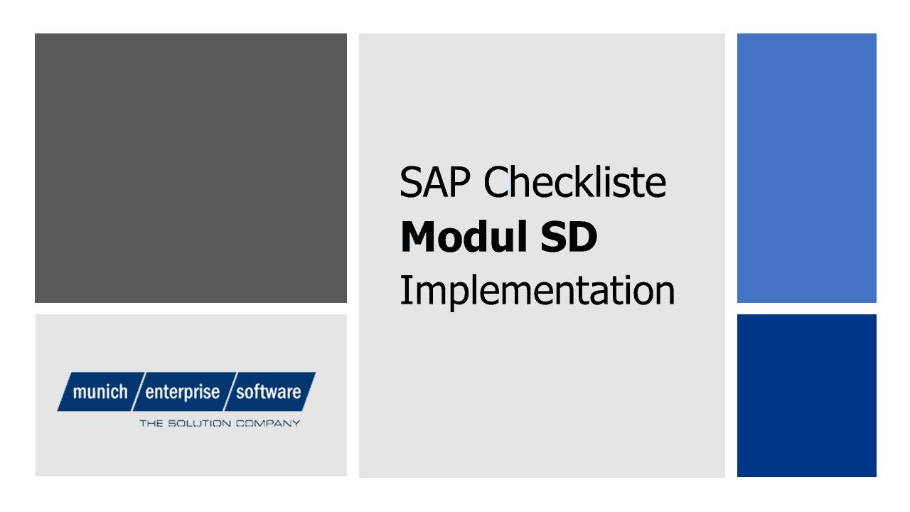 SAP SD Checkliste