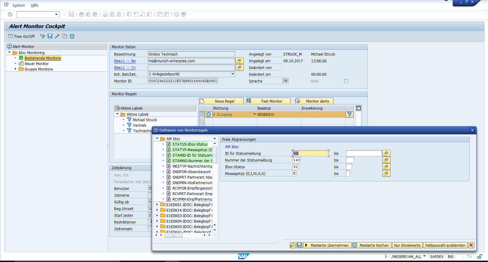SAP IDoc Monitor Definition von Monitoren Screenshot