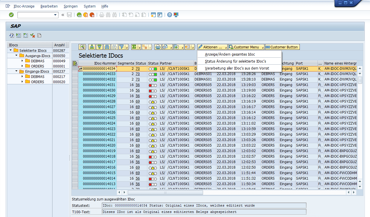 SAP IDoc Monitor Report Screenshot