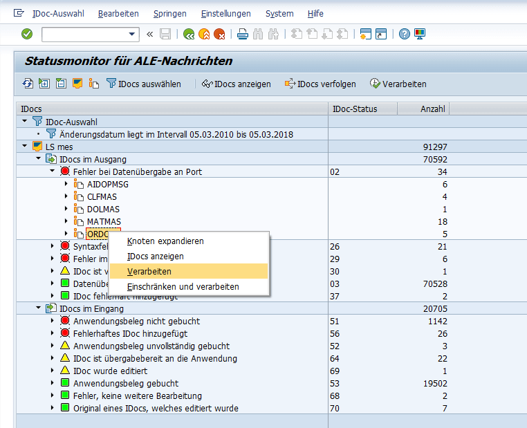 SAP IDoc Status Change BD87 and Process Screenshot