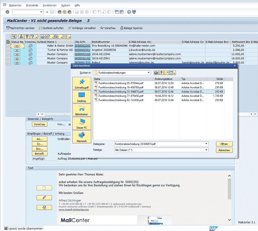 SAP Mail Anhang hinzufügen und versenden Screenshot