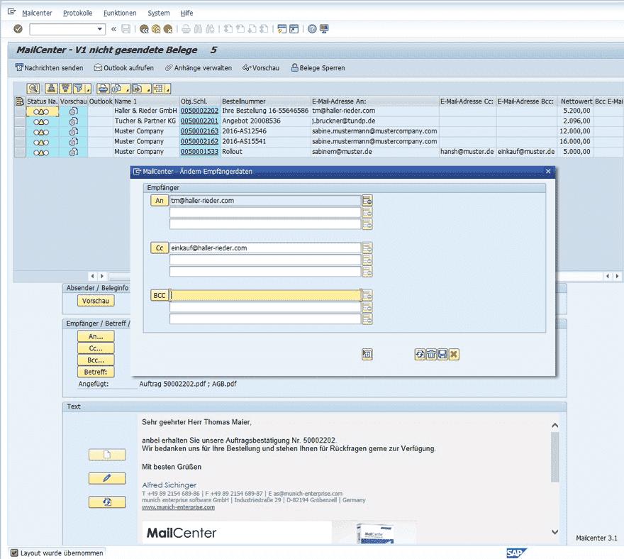 Send SAP Mail - MailCenter