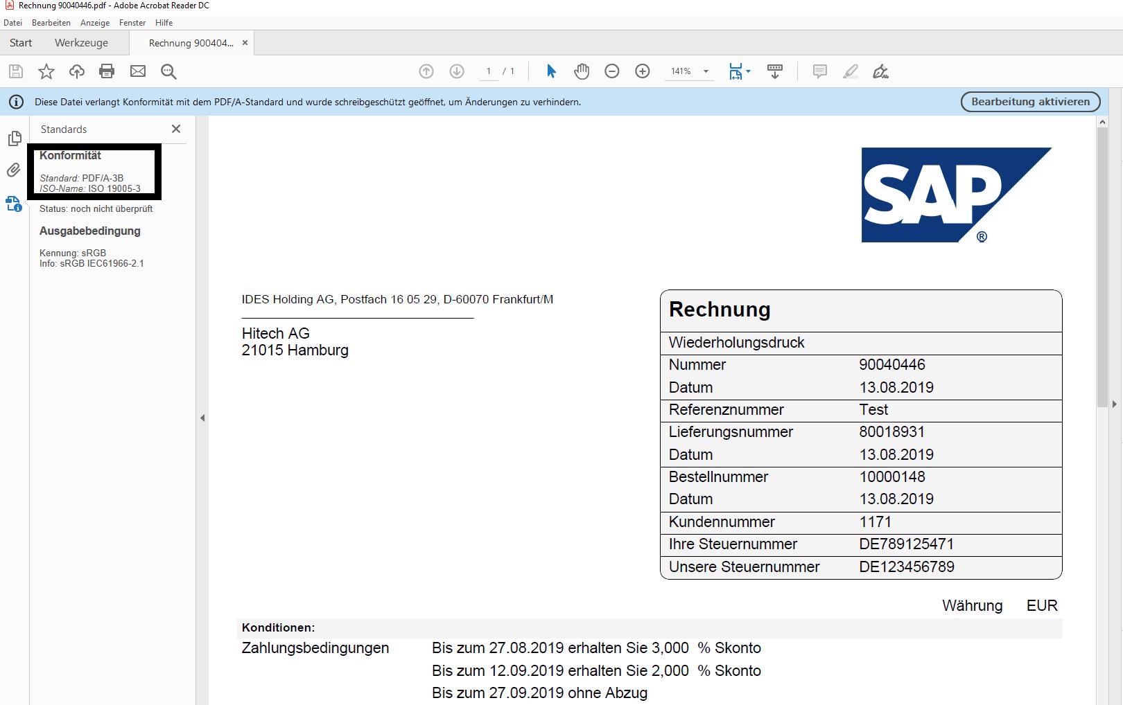 sap mail invoice pdf/a-3