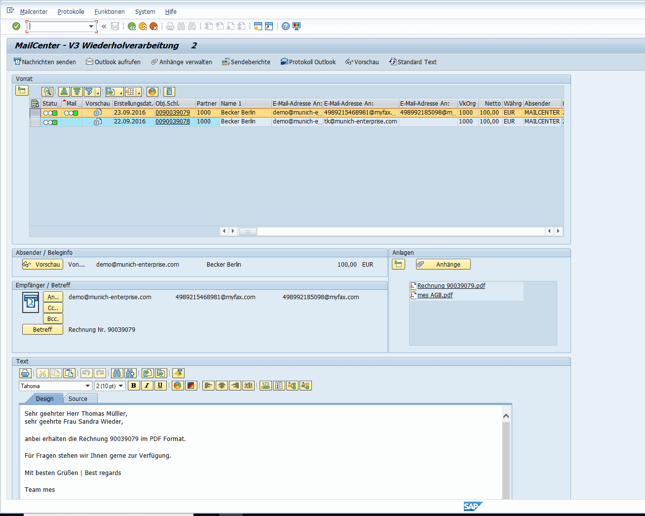 SAP Mail to Fax - send with MailCenter