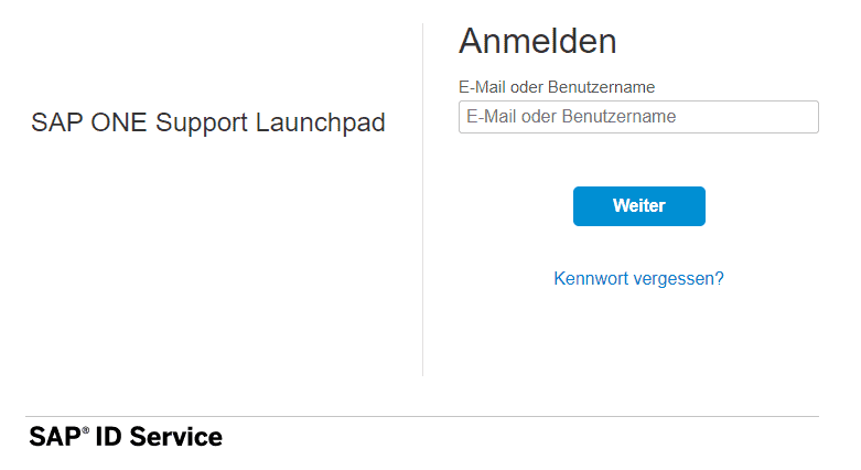 SAP ONE Support Launchpad anmelden