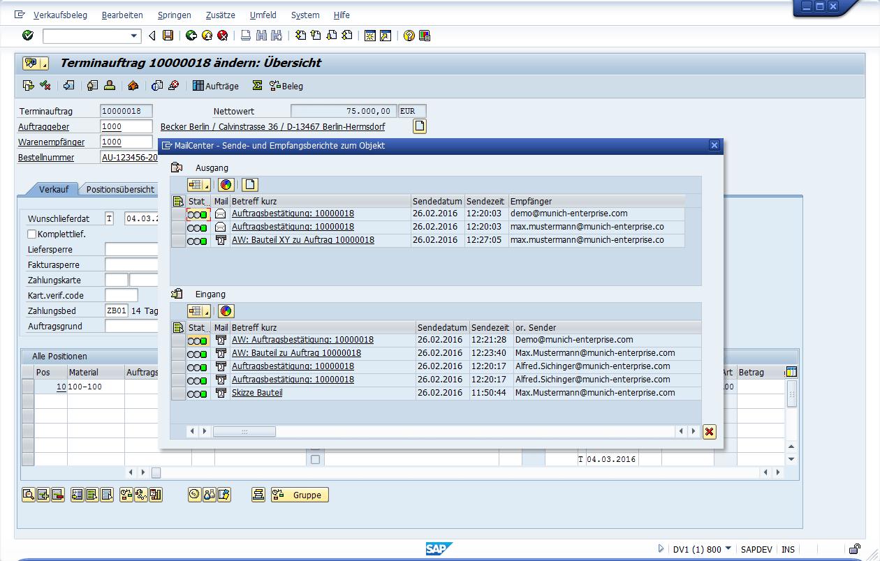 SAP Outlook Integration | munich enterprise software