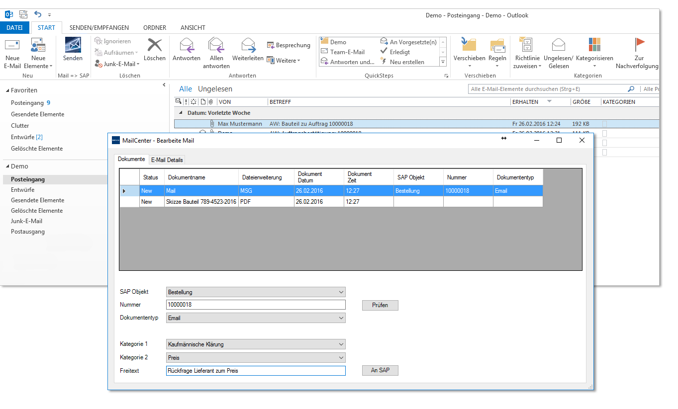 SAP Outlook Screenshot from Microsoft Office