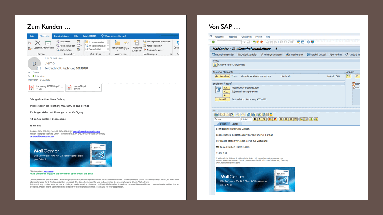 Send SAP invoice by e-mail