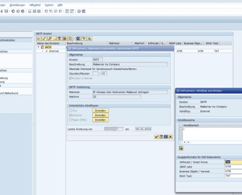 SAPConnect SAP Mailversand konfigurieren SCOT Screenshot